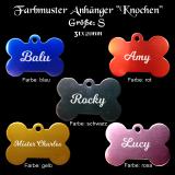 Hundemarke - Knochen - für Halsband mit beidseitiger Gravur in verschiedenen Farben / Größe S