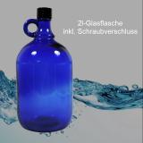 Glas-Flasche 2l – Farbe: blau - inkl. Kunststoff-Deckel - ohne Veredelung