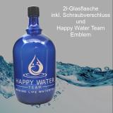 Glas-Flasche 2l – Farbe: blau inkl. Kunststoff-Deckel mit Happy-Water-Team-Emblem (weißer Aufdruck)