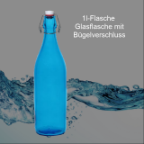Glas-Flasche 1l – Farbe: blau inkl. Bügelverschluss - ohne Veredelung