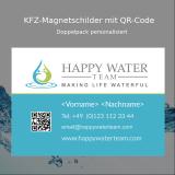 KFZ-Magnetschild (Doppelpack) - Design 2 - Happy Water Team mit QR-Code