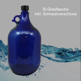 Glas-Flasche 5l – Farbe: blau -  inkl. Kunststoff-Deckel - ohne Veredelung