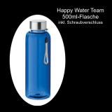 Tritan-Flasche 500ml mit Schraubdeckel und Trageschlaufe – Farbe: blau - ohne Veredelung