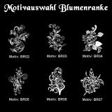 Schieferherz - Grabtafel Blumenranke - in Größe M mit Motivauswahl und individueller Gravur