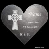 Schieferherz - Grabtafel Kreuz - in Größe M mit Motivauswahl und individueller Gravur