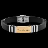 Herren Armband Funky Trauzeuge, Kautschuk und Edelstahl Bicolor mit individueller Gravur / Text