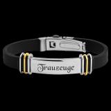 Herren Armband TripleX, Kautschuk und Edelstahl glänzend Bicolor mit individueller Gravur / Text