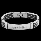Herren Armband - Zunder - Kautschuk und Edelstahl Gliederarmband mit individueller Gravur / Text