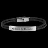 Armband Ladys and Gentlemen - Dragon - Leder schwarz / Edelstahl mit individueller Gravur