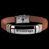 Herren Armband Vampire Trauzeuge, Leder braun und Edelstahl mit individueller Gravur / Text