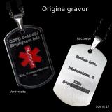 SOS-Notfall Anhänger in schwarz mit rotem Arzt-Kreuz und Kette