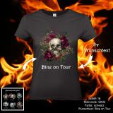Damen Shirt - Skull-Motiv mit Wunschtext - Shirt-Farbe: schwarz oder weiß