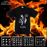 Kids T-Shirt Deluxe - Pferde-Liebe - Pferde-Motiv frei wählbar - Shirt-Farbe: schwarz oder weiß
