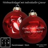 Weihnachtskugel XXL - 10cm - Rot glänzend - mit Schneemann-Gesicht Motiv-Auswahl - individueller Gravur / Text