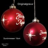 LED-Weihnachtskugel - 10cm - Rot matt - mit Motivauswahl und individueller Gravur / Text