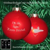 Weihnachtskugel XXL - 10cm - Rot matt - mit Schneemann-Gesicht Motiv-Auswahl - individueller Gravur / Text