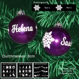 Weihnachtskugel XL - 8cm - Lila glänzend - mit Motivauswahl und individueller Gravur / Text