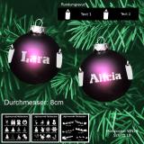 Weihnachtskugel XL - 8cm - Lila matt - mit Motivauswahl und individueller Gravur / Text