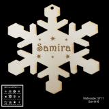 Schneeflocke Christbaumschmuck aus Holz mit Motivauswahl und individueller Gravur / Text