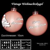 Weihnachtskugel XXL 10cm - Vintage rosa/lila - mit Motivauswahl und individueller Gravur / Text