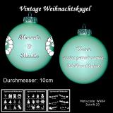 Weihnachtskugel XXL 10cm - Vintage mint - mit Motivauswahl und individueller Gravur / Text