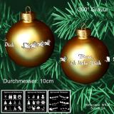 Weihnachtskugel - 10cm - Gold matt - mit Motivauswahl und individueller Gravur / Text