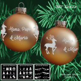 Weihnachtskugel XL - 8cm - gold matt - mit Motivauswahl und individueller Gravur / Text