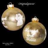 Weihnachtskugel XL - 8cm - gold glänzend - mit Motivauswahl und individueller Gravur / Text
