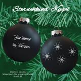 Weihnachtskugel XL *Sternenkind* - 8cm - schwarz matt - mit individueller Gravur