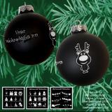 Weihnachtskugel XL - 8cm - schwarz matt - mit Motivauswahl und individueller Gravur / Text