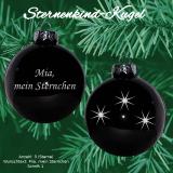 Weihnachtskugel XL *Sternenkind* - 8cm - schwarz gläzend - mit Motivauswahl und individueller Gravur / Text