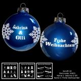 Weihnachtskugel XL - 8cm - blau - mit Motivauswahl und individueller Gravur / Text