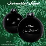 Weihnachtskugel XXL *Sternenkind* - 10cm - schwarz glänzend - mit Motivauswahl und individueller Gravur / Text