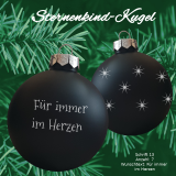 Weihnachtskugel XXL *Sternenkind* - 10cm - schwarz matt - mit individueller Gravur