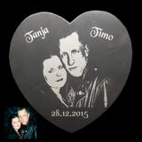 Marmortafel Herz mit Ihrem Lieblingsfoto in Größe M / 12,7 cm