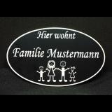 Schild oval Family mit individueller Gravur / Name