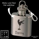 Mini-Flachmann Schlüsselanhänger - Rockabilly - mit Motivauswahl und individueller Gravur