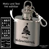 Mini-Flachmann Schlüsselanhänger - Weihnachten - mit Motivauswahl und individueller Gravur