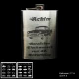 Flachmann - Coole Karren - Chrom-Poliert 8 oz mit Wunschmotiv, Name und Spruch