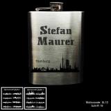Flachmann - Skyline - Chrom Poliert 8 oz mit Ihrer Stadt und individueller Gravur / Name
